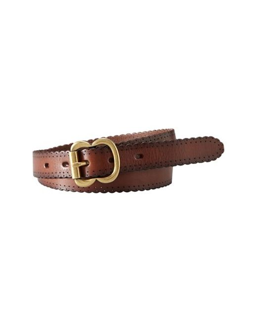 Fossil | Brown Scallop Edge Leather Belt | Lyst