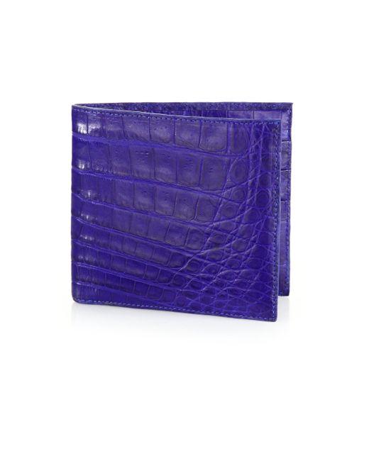 Santiago Gonzalez | Blue Crocodile Billfold Wallet for Men | Lyst