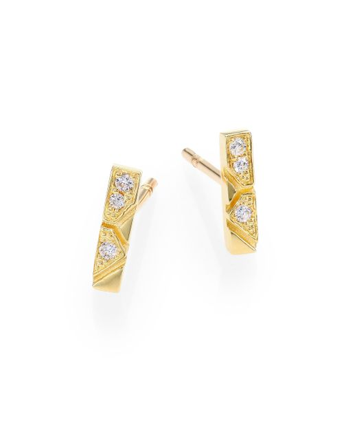 Ron Hami | Metallic Bar Diamond & 18k Yellow Gold Engraved Lines Boutique Stud Earrings | Lyst