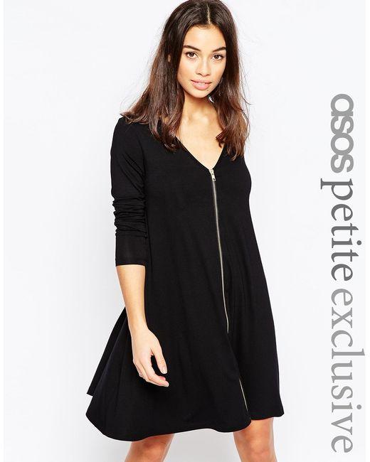 Asos Exclusive Zip Front Swing Dress With Long Sleeve In