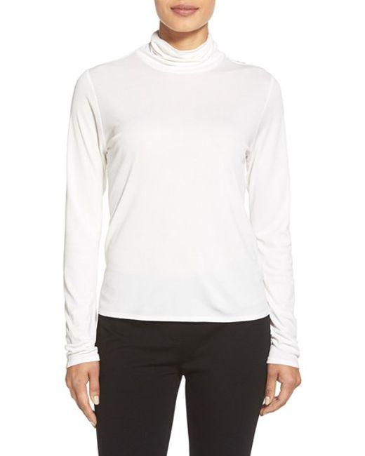 Eileen Fisher | White Scrunch Neck Silk Top | Lyst