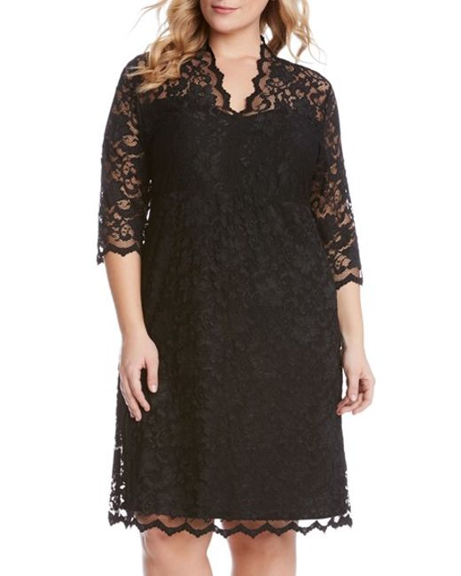 Karen Kane Scalloped Stretch Lace Dress In Black Lyst