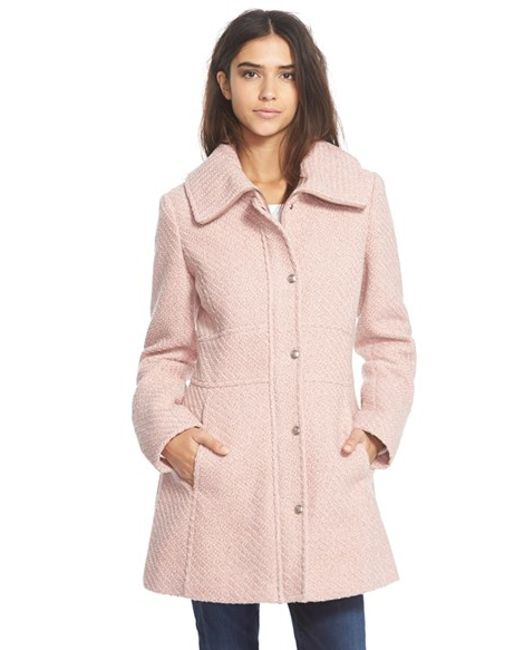 Jessica Simpson | Pink Basket Weave Fit & Flare Coat | Lyst