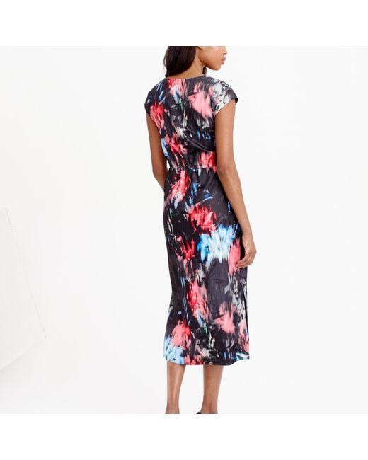 J.Crew | Multicolor Tall Drapey Side-slit Dress In Floral Splash | Lyst