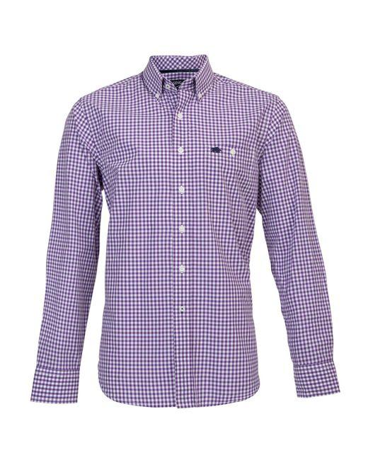 Raging Bull | Purple Signature Gingham Long Sleeve Button Down Shirt for Men | Lyst