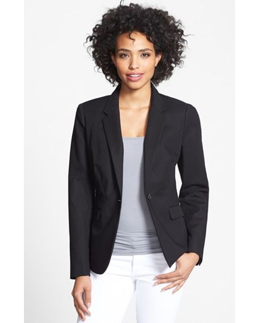 Vince Camuto | Black Stretch Cotton One-button Blazer | Lyst