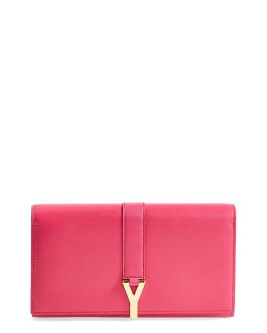 Saint Laurent   Pink 'large Ligne Y' Leather Wallet   Lyst