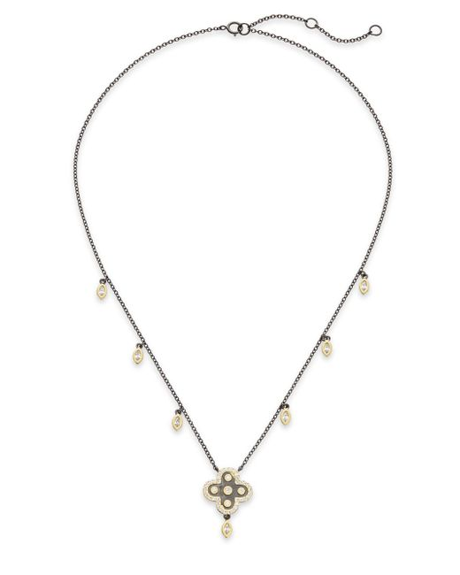 Freida Rothman | Metallic Floral Station Drop Necklace | Lyst