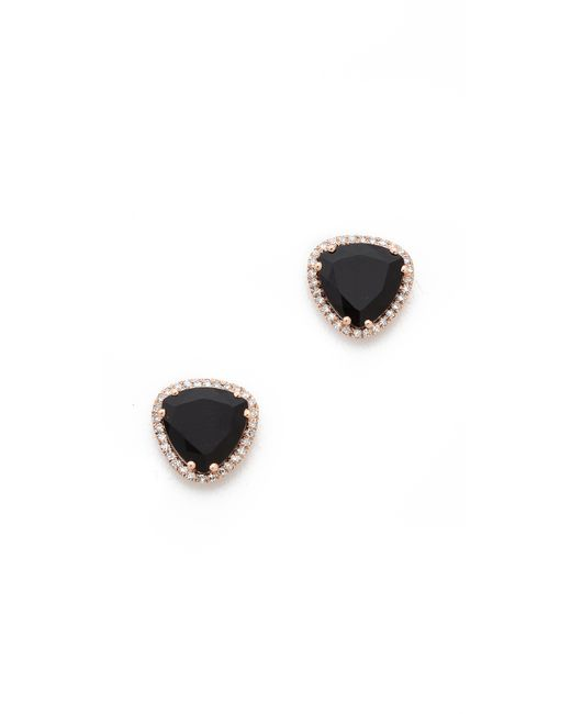 EF Collection | Black Diamond Stone Slice Stud Earrings | Lyst