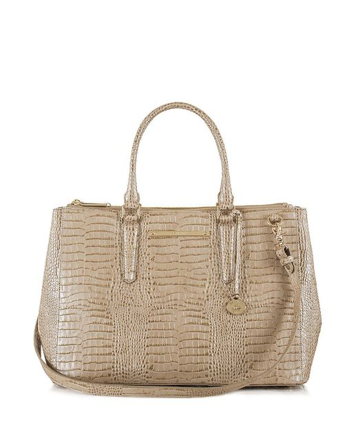 Brahmin Lincoln Majestic Leather Satchel In Beige Cabana