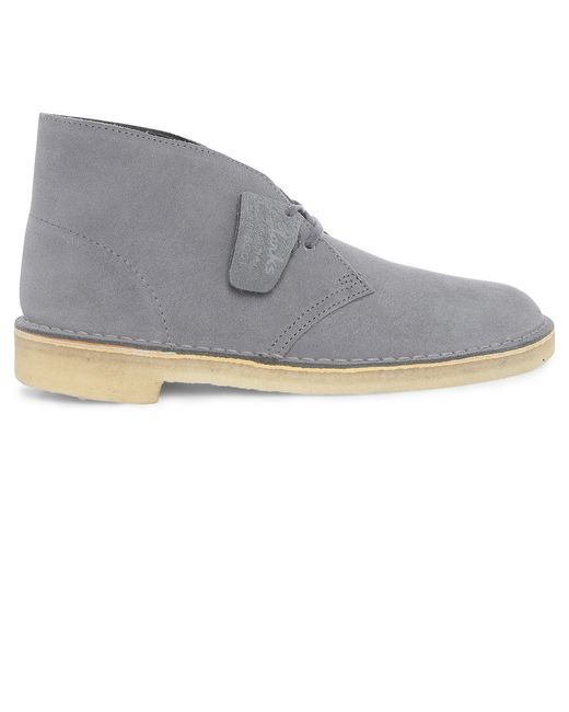 clarks lace up suede desert boots in gray for grey