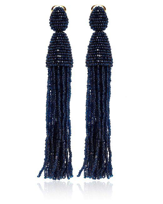 Oscar de la Renta   Blue Long Beaded Tassel Earrings   Lyst