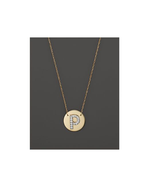 Jane Basch | Metallic 14k Yellow Gold Circle Disc Pendant Necklace With Diamond Initial, 16"