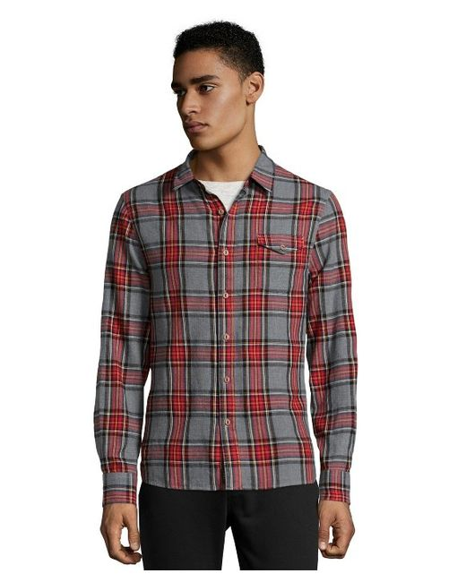 Jachs grey and red plaid cotton button front flannel shirt for Grey plaid shirt womens