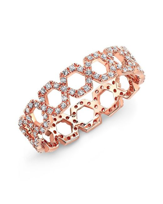 Anne Sisteron | Pink 14kt Rose Gold Diamond Mini Lattice Ring | Lyst