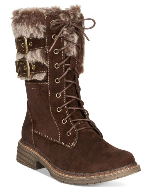 Wanted | Brown Pilsner Lace-up Faux-fur Booties | Lyst