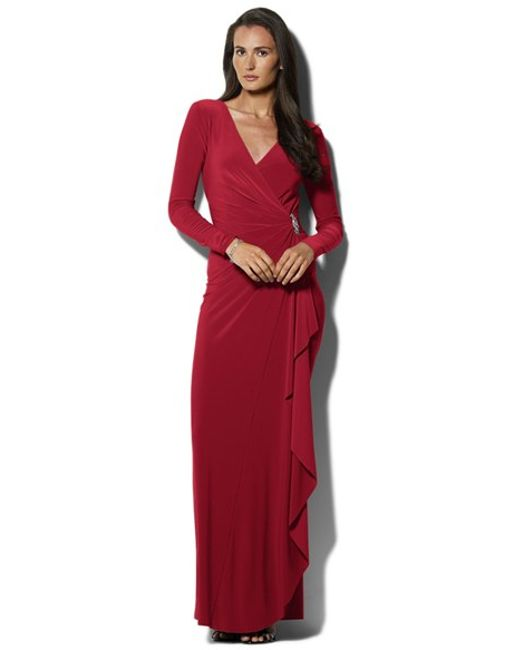 Lauren by Ralph Lauren | Purple Embellished Jersey Gown | Lyst