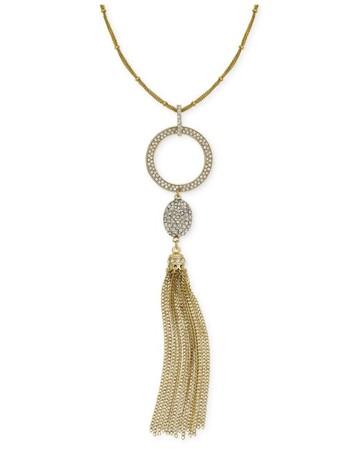 INC International Concepts | Metallic Gold-tone Crystal Pave Circle Pendant Tassel Necklace | Lyst