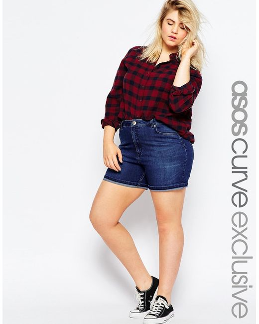 ASOS | Blue High Waist Denim Shorts In Indigo | Lyst