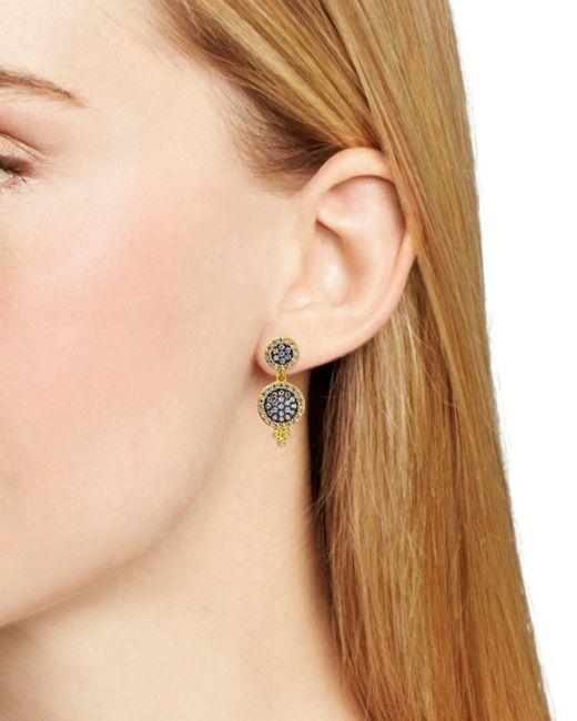 Freida Rothman   Metallic Double Pavé Disc Drop Earrings   Lyst