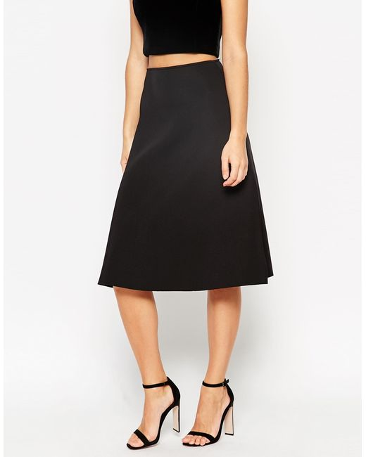 asos midi skirt in scuba fabric in black lyst