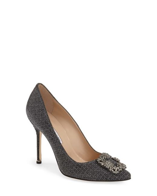 Manolo Blahnik | Black 'Hangisi' Jeweled Pump | Lyst