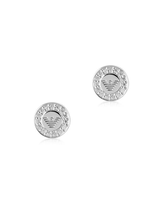 Emporio Armani | Metallic Sterling Silver Signature Round Women's Earrings | Lyst