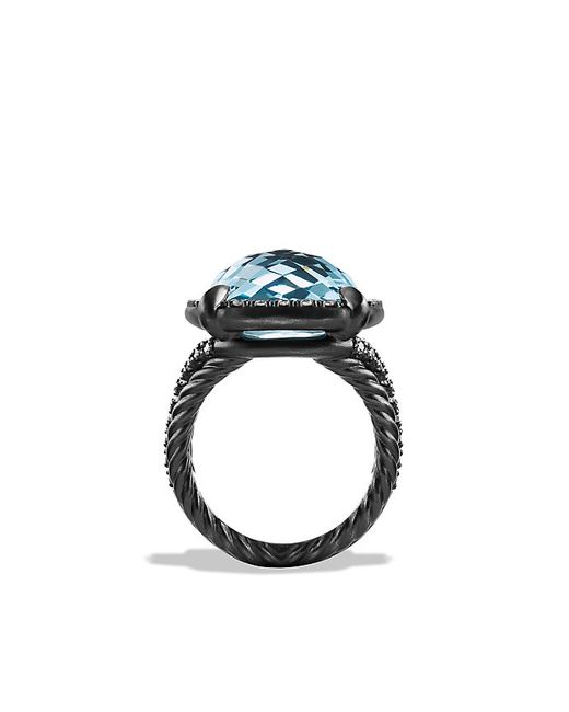 David Yurman | Ring With Blue Topaz And Gray Diamonds | Lyst