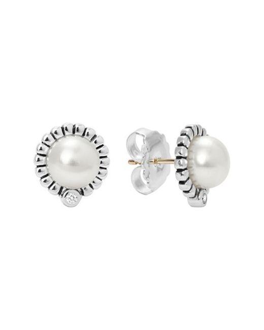 Lagos   Metallic 'luna' Pearl & Diamond Stud Earrings   Lyst