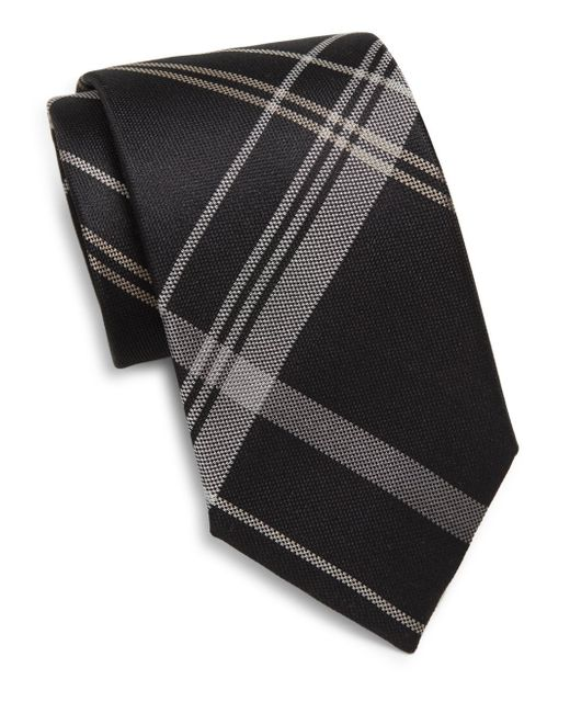 Saks Fifth Avenue | Black Silk Plaid Tie for Men | Lyst