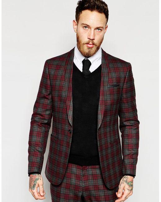 asos skinny suit jacket in tartan check in red for men. Black Bedroom Furniture Sets. Home Design Ideas