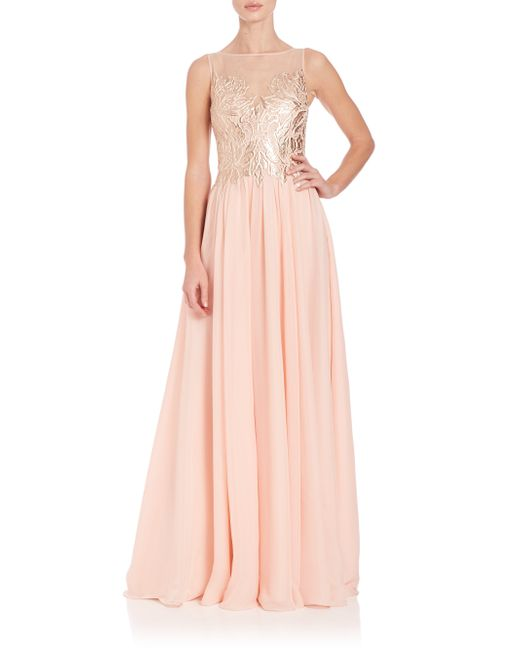 Basix Black Label Illusion Neck Gown In Pink