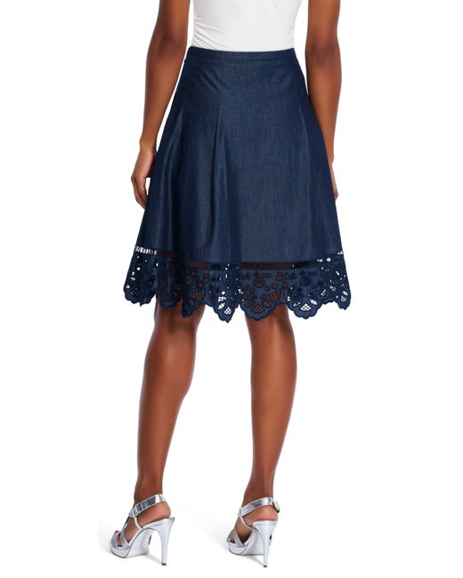 papell chambray skirt in black midnight blue