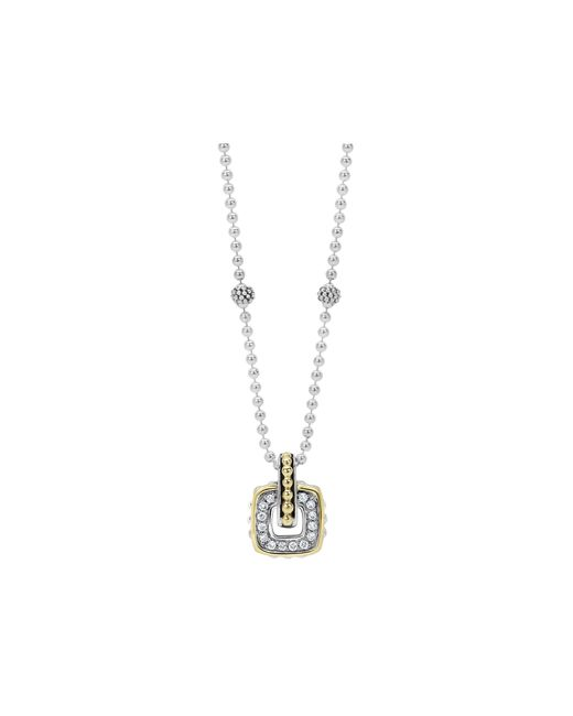 Lagos | Metallic Sterling Silver Beaded Pendant Necklace With Diamonds And 18k Gold, 16"