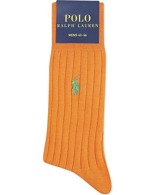 Polo Ralph Lauren   Orange Ribbed Cotton-blend Socks for Men   Lyst
