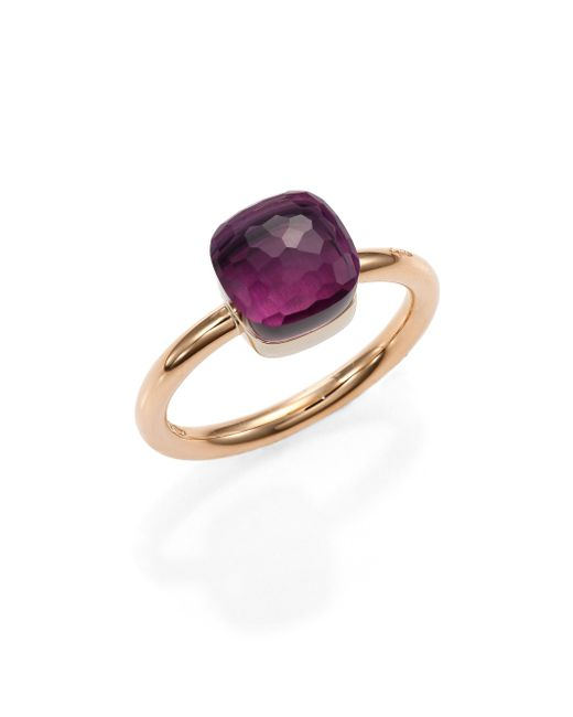 Pomellato | Metallic Nudo Amethyst & 18k Rose Gold Small Ring | Lyst