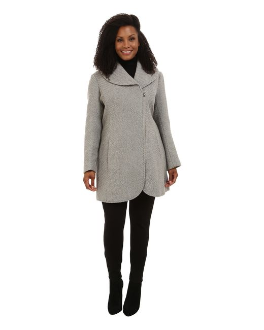 Jessica Simpson | Gray Plus Size Asymmetrical Braided Wool Coat With Shawl Collar | Lyst