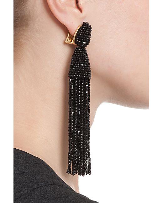 Oscar De La Renta Beaded Long Tassel Clip Earrings G3bqRUsK
