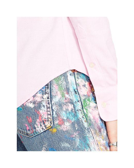 Polo Ralph Lauren | Pink Knit Cotton Oxford Shirt | Lyst