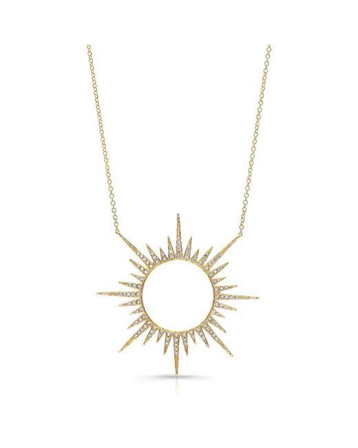 Anne Sisteron | Metallic 14kt Yellow Gold Diamond Open Sunburst Necklace | Lyst