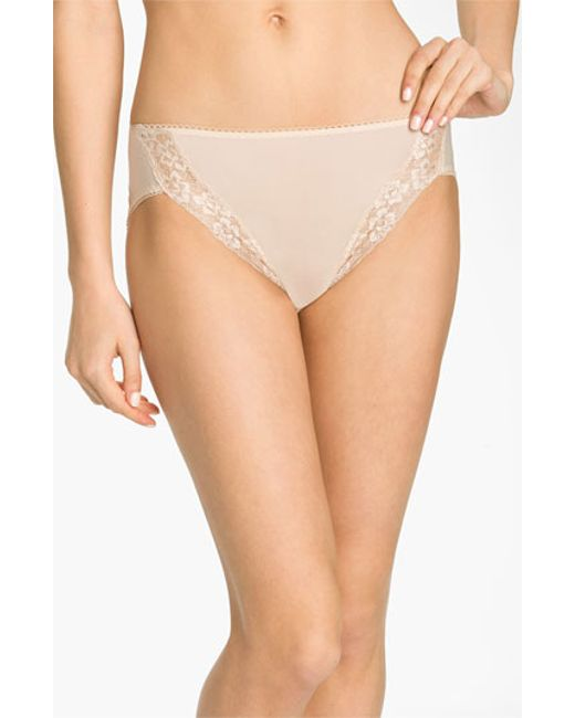 Wacoal | Natural 'bodysuede' Lace Trim High Cut Briefs | Lyst