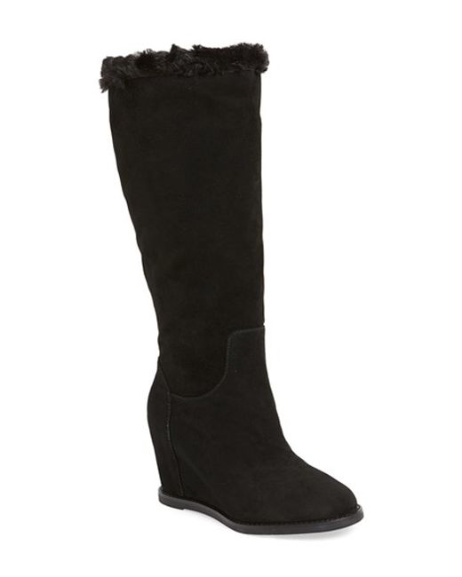 Johnston & Murphy | Black Brynn Tall Faux Fur Wedge Boot | Lyst