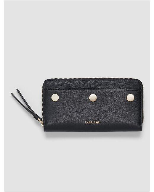 Calvin Klein   Black Lea Large Zip Wallet   Lyst