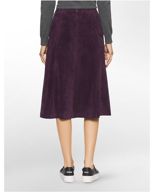 Calvin klein Suede A-line Suit Skirt in Purple   Lyst