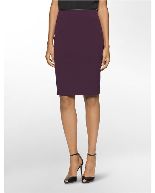 calvin klein faux leather trim luxe pencil skirt in purple