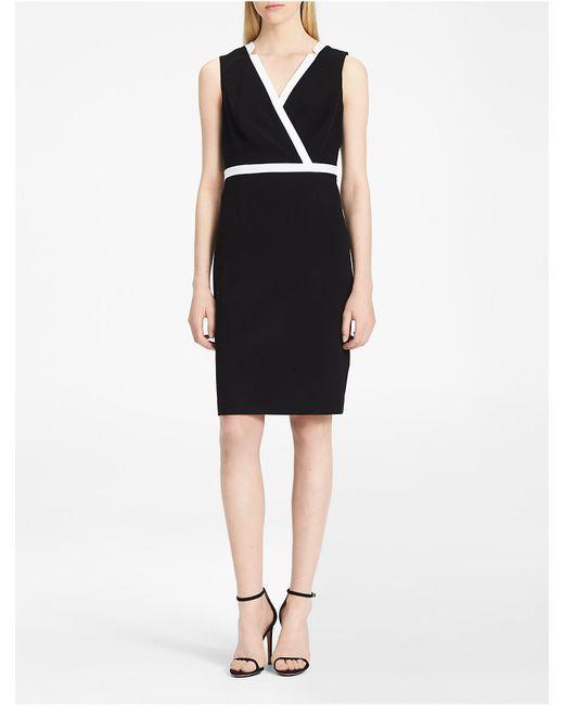 Calvin Klein   Black Piped V-neck Sheath Dress   Lyst
