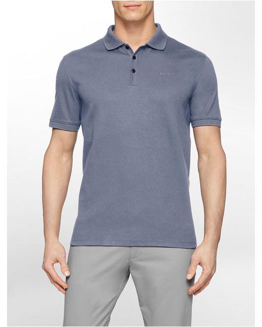 Calvin Klein | Blue Classic Fit Solid Liquid Cotton Polo Shirt for Men | Lyst