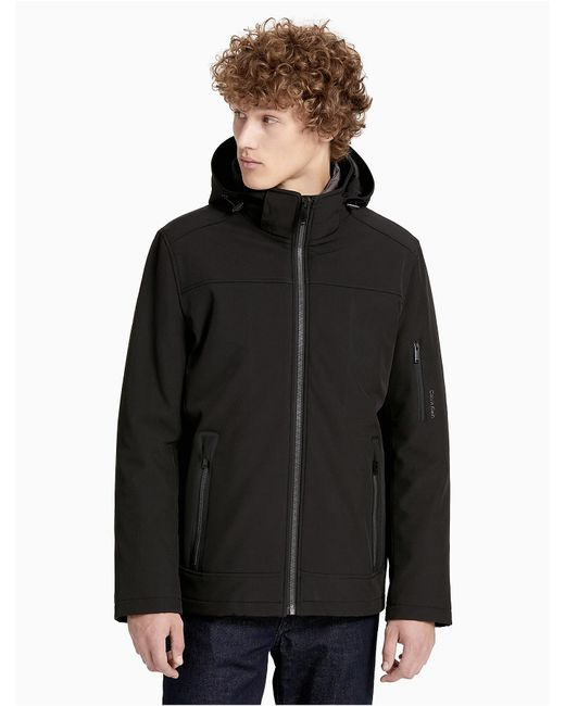 Calvin Klein | Black Soft Shell Hooded Jacket for Men | Lyst