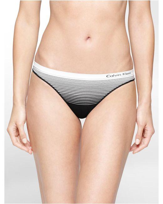 Calvin Klein | Black Underwear Seamless Illusions Stripe Print Thong | Lyst