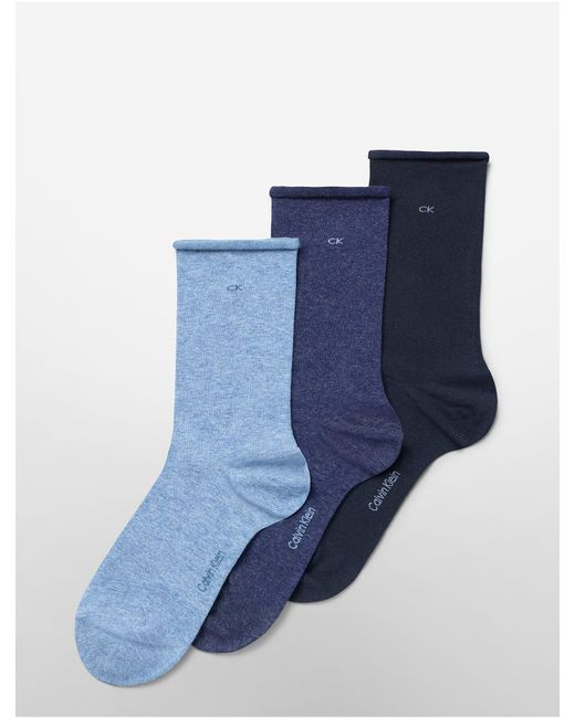 Calvin Klein - Blue 3-Pack Combed Cotton Rolled Cuff Crew Socks for Men - Lyst